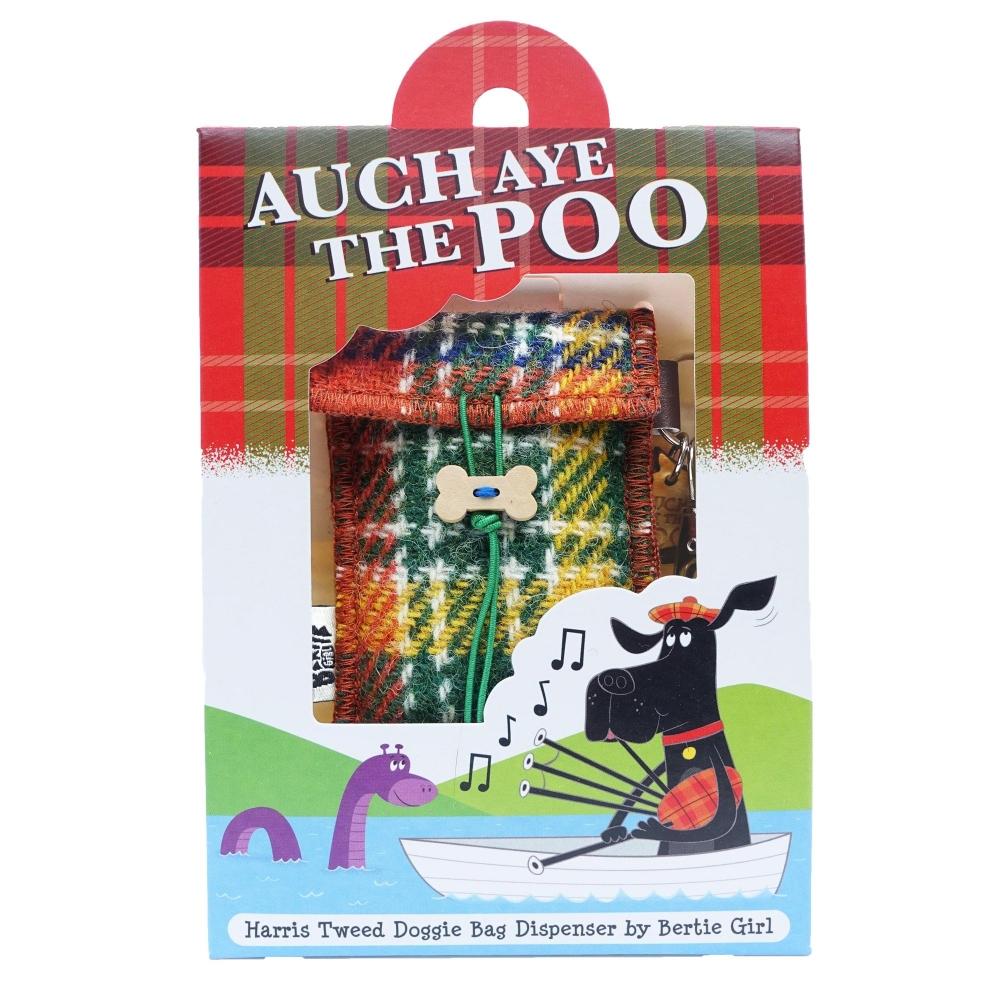 Orange Check Harris Tweed Doggy Bag Dispenser by Bertie Girl - Auch Aye the Poo