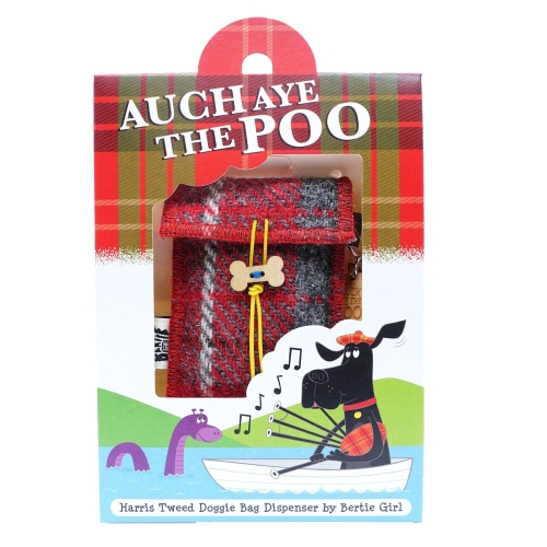 Red Check Harris Tweed Doggy Bag Dispenser by Bertie Girl - Auch Aye the Poo