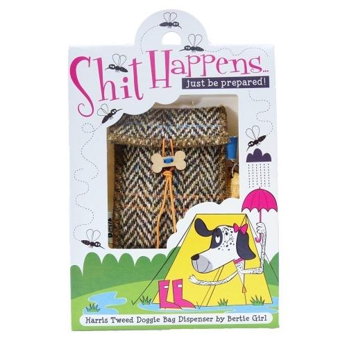 Hamish Harris Tweed Doggy Bag Dispenser by Bertie Girl - Shit Happens - just be prepared!