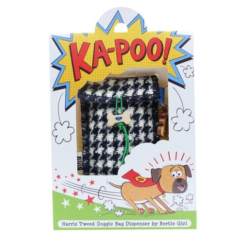 Black and White Houndstooth Harris Tweed Doggy Bag Dispenser by Bertie Girl - Ka-Poo