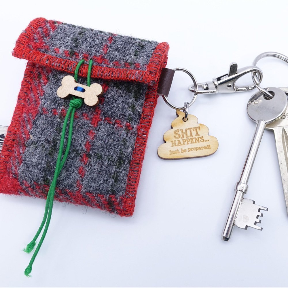 Red Check Harris Tweed Doggy Bag Dispenser by Bertie Girl - Shit Happens - just be prepared!