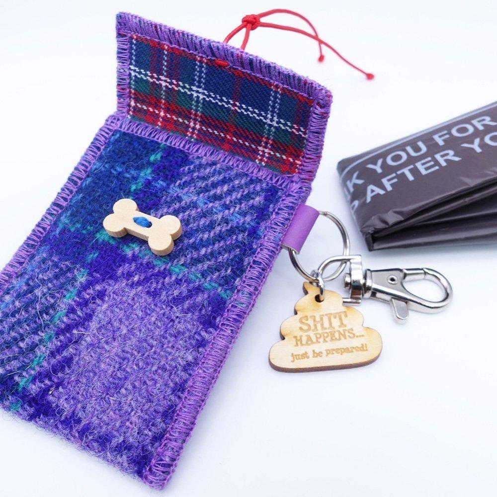 Purple Check Harris Tweed Doggy Bag Dispenser by Bertie Girl - Shit Happens - just be prepared!
