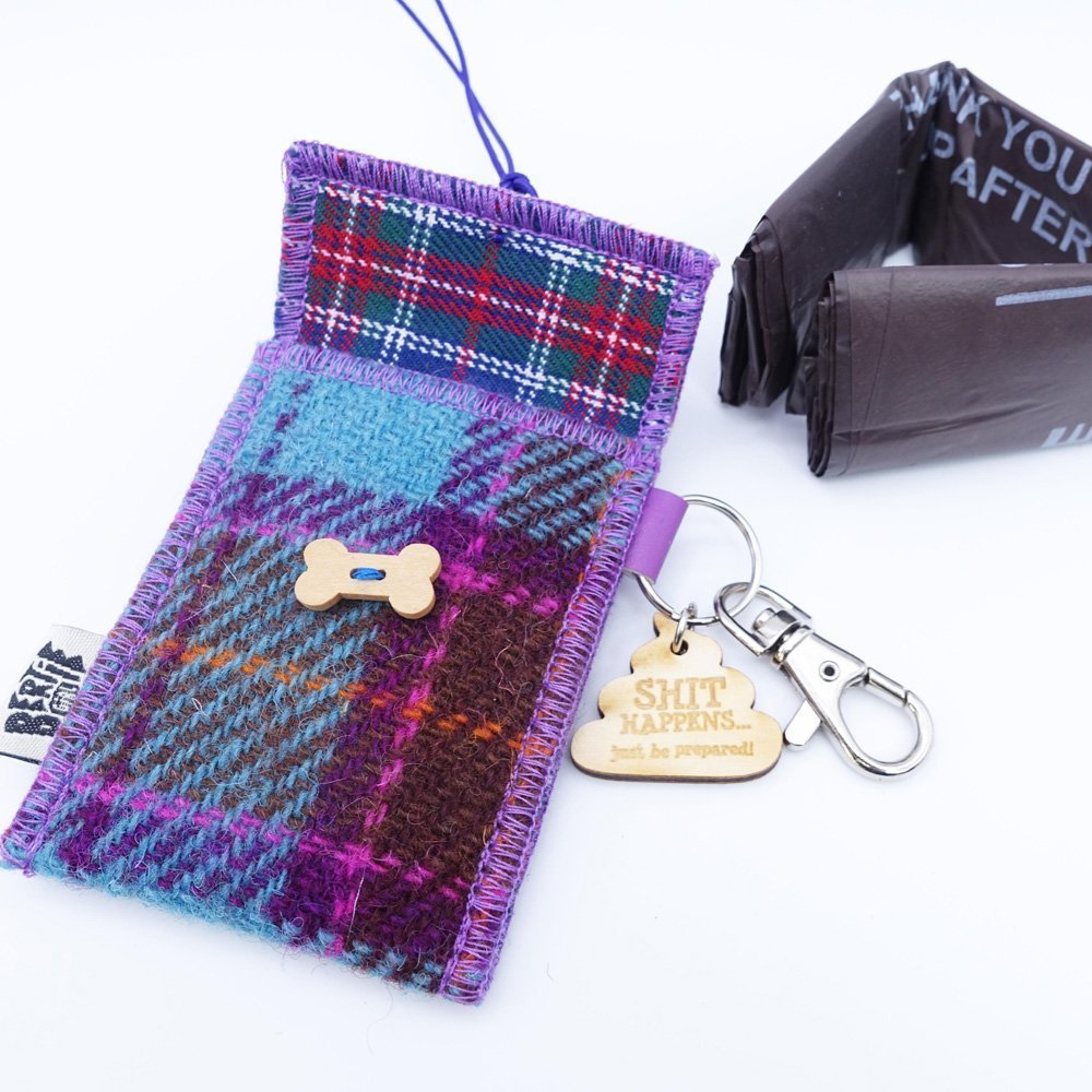 Teal and Pink Check Harris Tweed Doggy Bag Dispenser by Bertie Girl - Shit Happens - just be prepared!