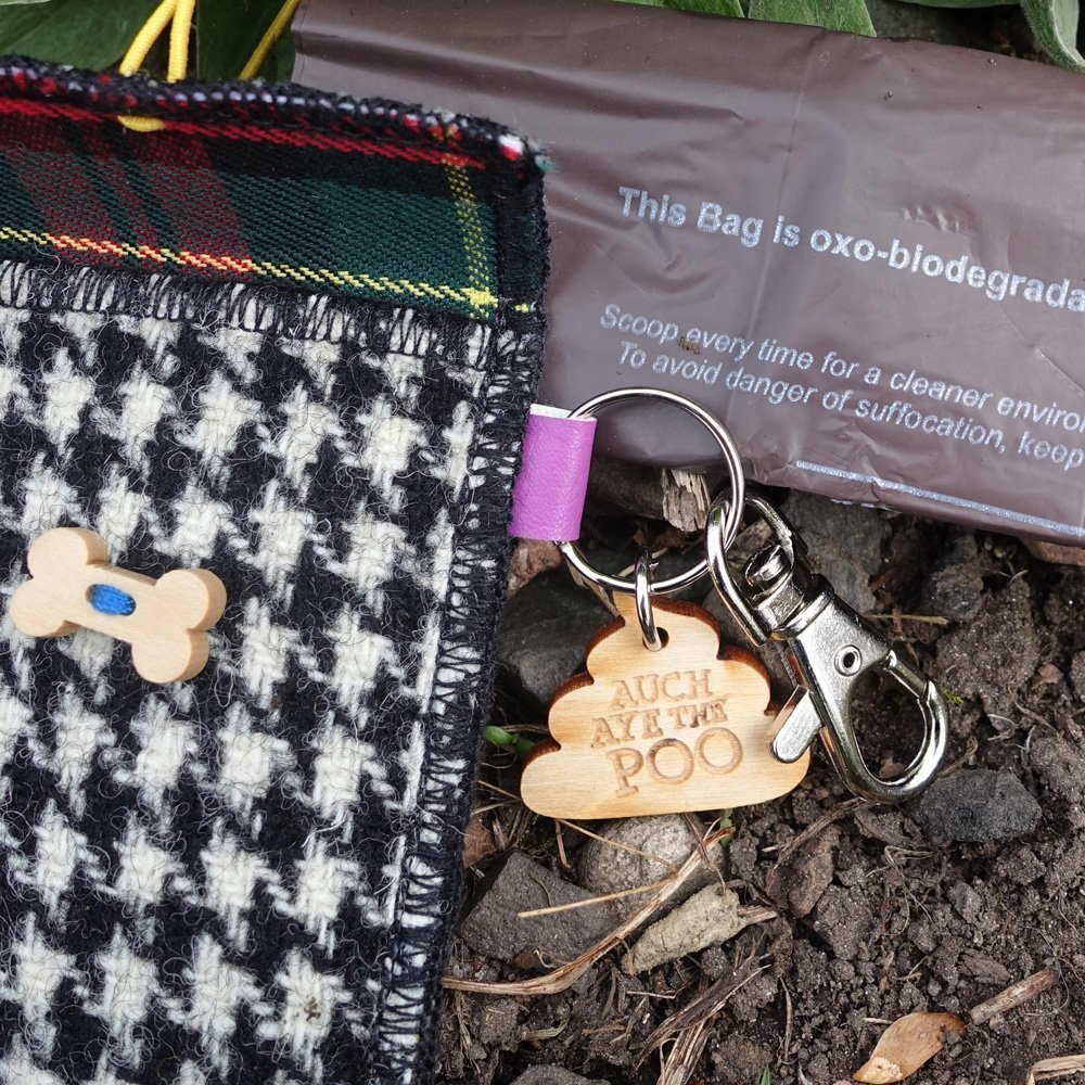 Black and White Houndstooth Harris Tweed Doggy Bag Dispenser by Bertie Girl - Auch Aye the Poo