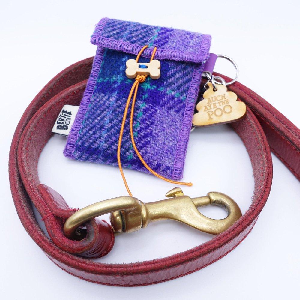 Purple Check Harris Tweed Doggy Bag Dispenser by Bertie Girl - Auch Aye the Poo