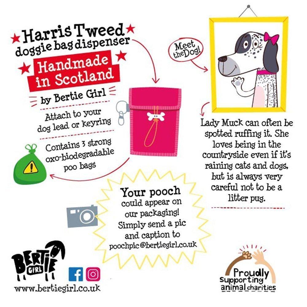 Harris Tweed Doggy Bag Dispenser by Bertie Girl - Shit Happens - just be prepared!