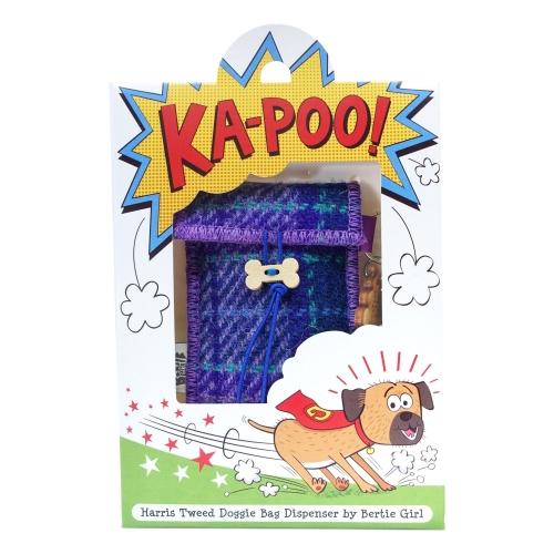 Purple Check Harris Tweed Doggy Bag Dispenser by Bertie Girl - Ka-Poo