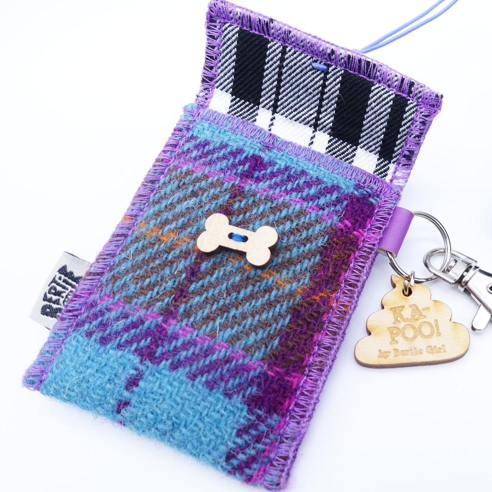 Teal and Pink Check Harris Tweed Doggy Bag Dispenser by Bertie Girl - Ka-Poo