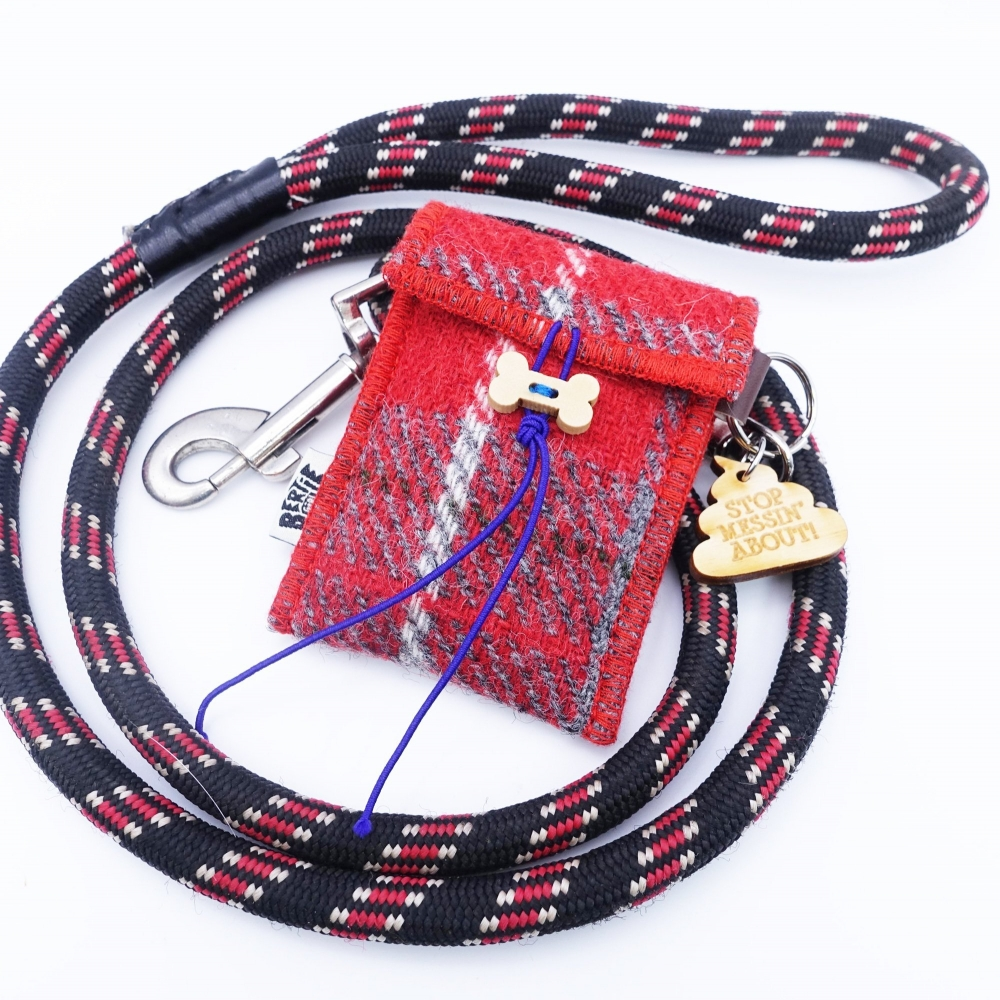 Red Check Harris Tweed Doggy Bag Dispenser by Bertie Girl - Stop Messin' about
