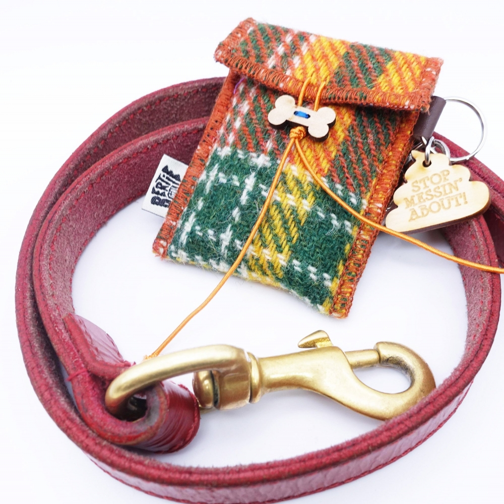 Orange Check Harris Tweed Doggy Bag Dispenser by Bertie Girl - Stop Messin' about