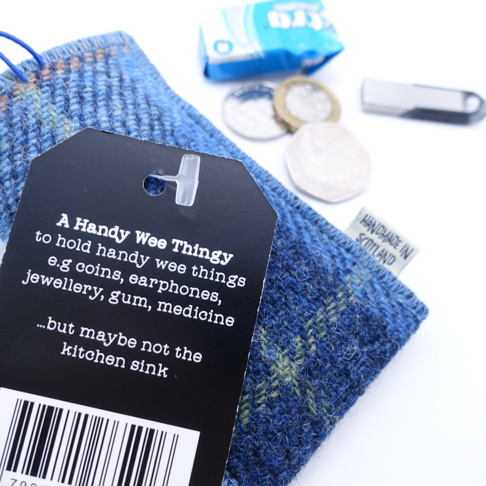 Blue Check Harris Tweed Key Ring by Bertie Girl - A Handy Wee Thingy