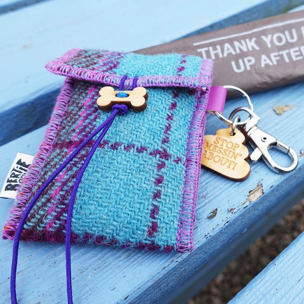 Teal Check Harris Tweed Doggy Bag Dispenser by Bertie Girl - Stop Messin' about