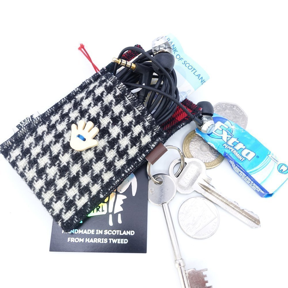 Black and White Houndstooth Harris Tweed Key Ring by Bertie Girl - A Handy Wee Thingy