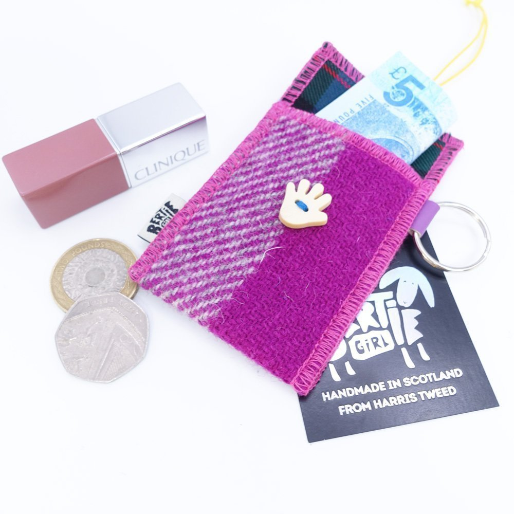 Pink Check Harris Tweed Key Ring by Bertie Girl - A Handy Wee Thingy