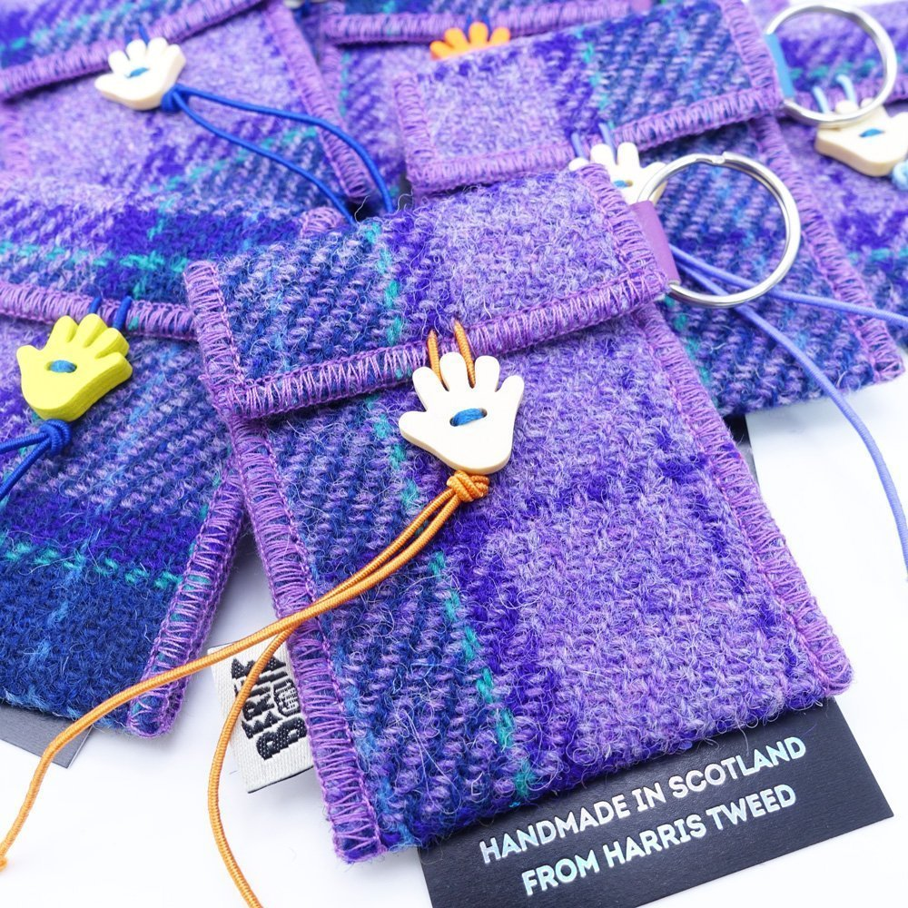 Purple Check Harris Tweed Key Ring by Bertie Girl - A Handy Wee Thingy