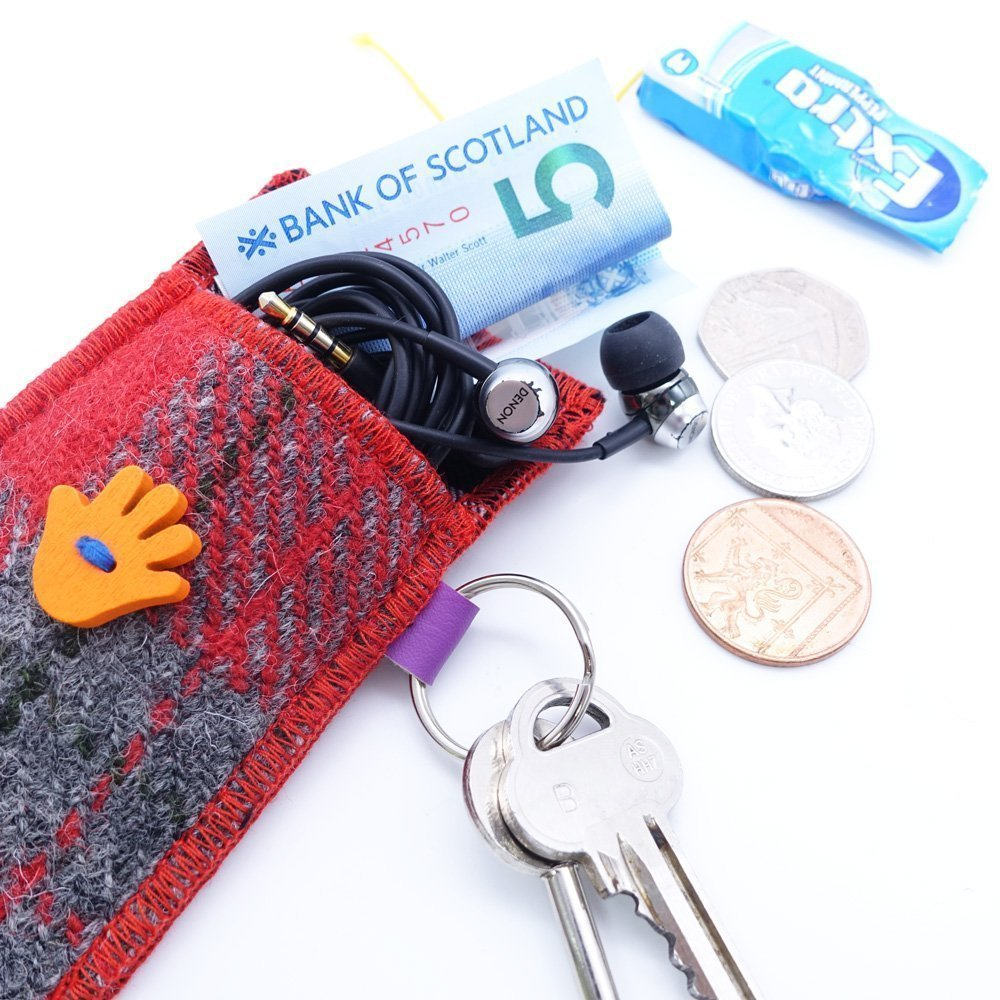 Red and Grey Check Harris Tweed Key Ring by Bertie Girl - A Handy Wee Thingy