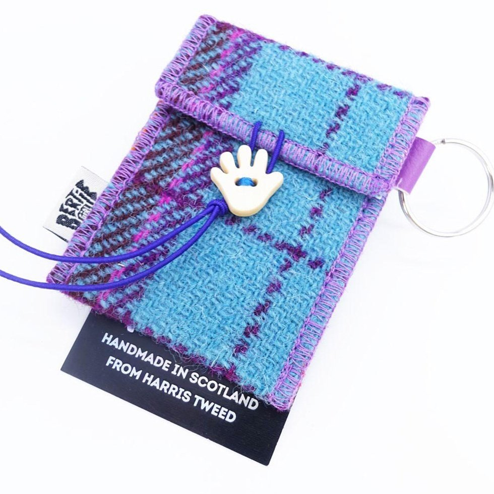 Teal and Pink Check Harris Tweed Key Ring by Bertie Girl - A Handy Wee Thingy