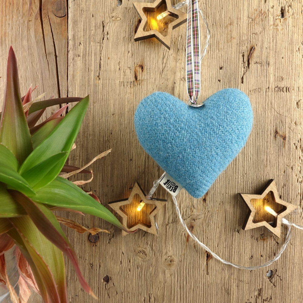 Aqua Blue Harris Tweed Hanging Heart Decoration With Tartan Ribbon by Bertie Girl - A Muckle Heart