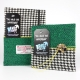 Black and White Houndstooth and Green Herringbone A5 and Square Harris Tweed Notebooks