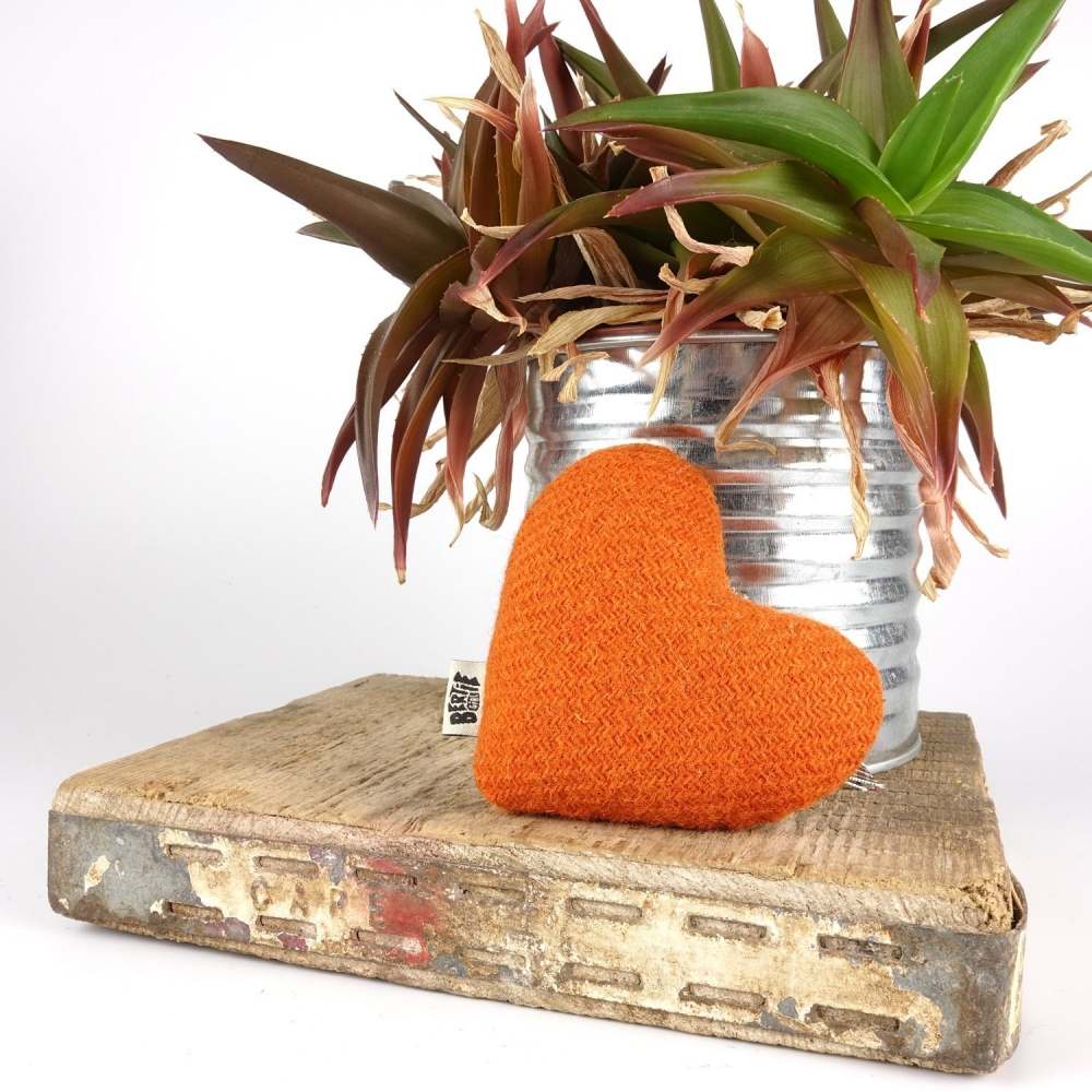 Zingy Tangerine Orange Harris Tweed Hanging Heart Decoration With Tartan Ribbon by Bertie Girl - A Muckle Heart