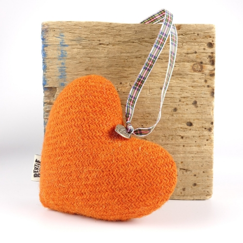 Zingy Tangerine Orange Harris Tweed Hanging Heart Decoration With Tartan Ribbon by Bertie Girl - A Muckle Heart