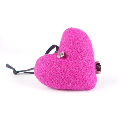Hot Pink Harris Tweed Hanging Heart Decoration With Tartan Ribbon by Bertie Girl - A Muckle Heart