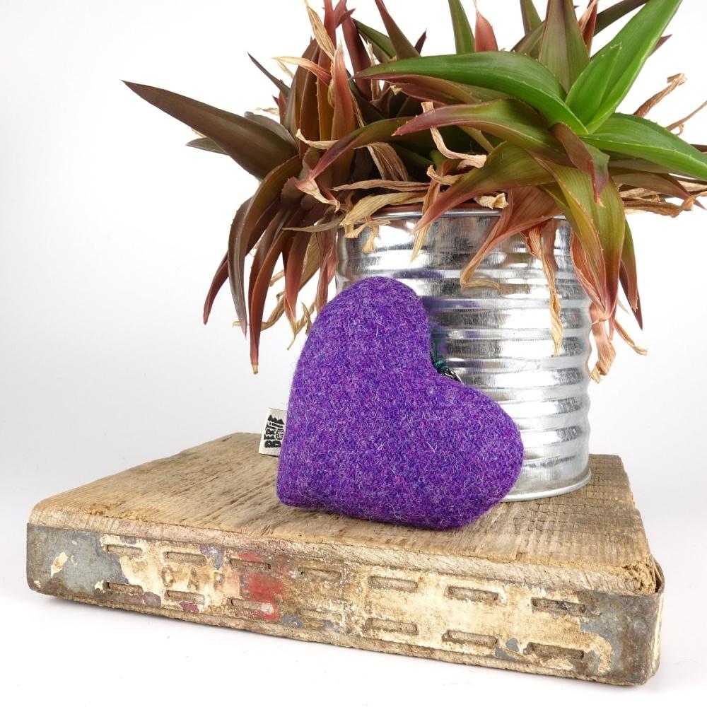 Purple Harris Tweed Hanging Heart Decoration With Tartan Ribbon by Bertie Girl - A Muckle Heart