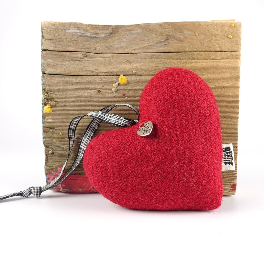 Pillar Box Red Harris Tweed Hanging Heart Decoration With Tartan Ribbon by Bertie Girl - A Muckle Heart