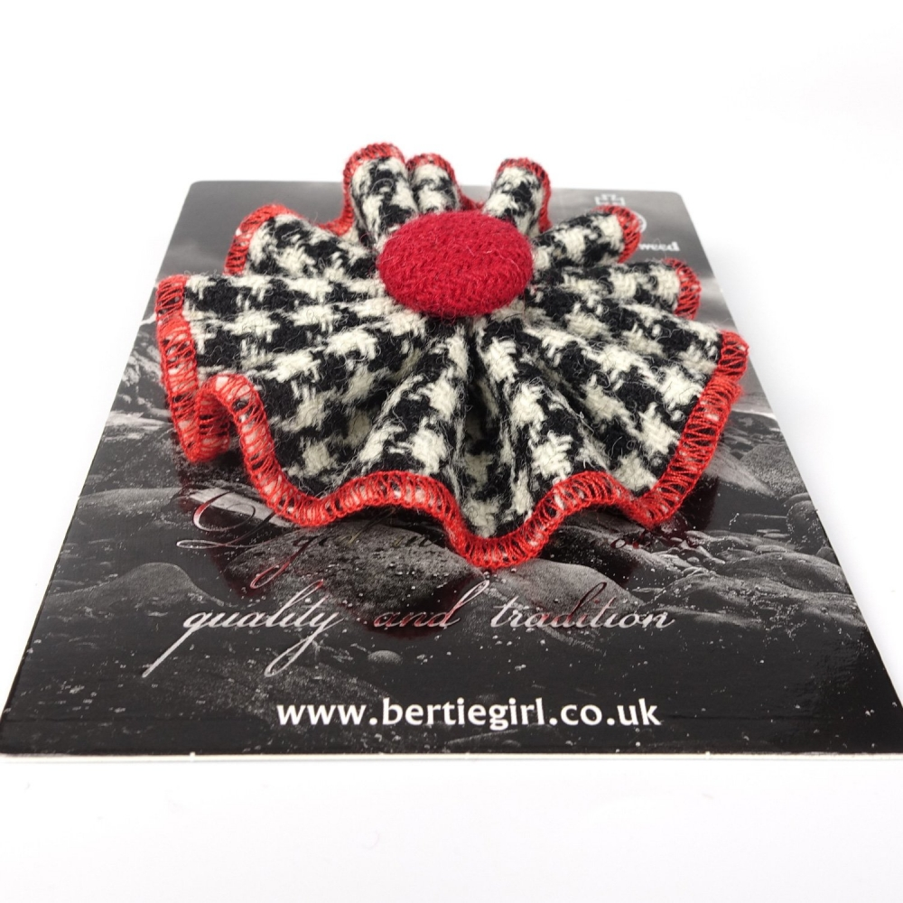 Black and White Houndstooth Harris Tweed Rosette Brooch by Bertie Girl