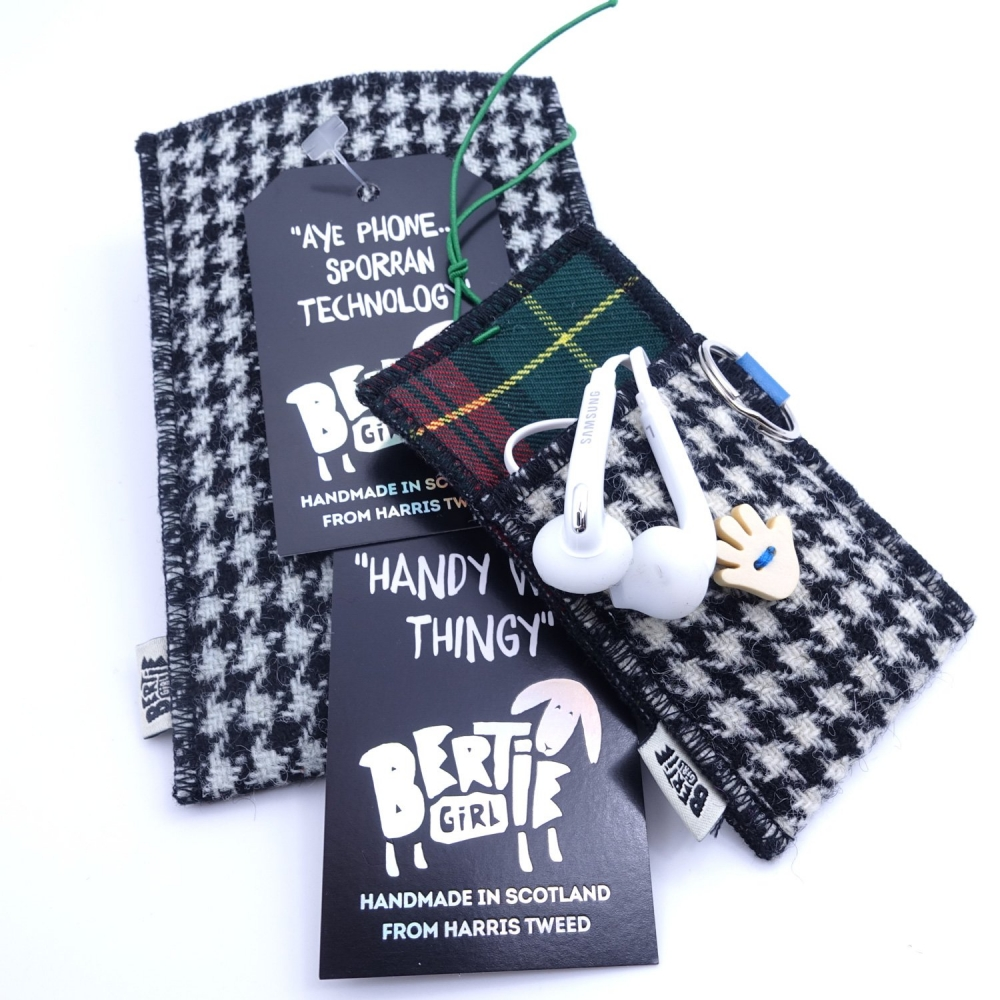 Black and White Houndstooth Harris Tweed Phone Sleeve by Bertie Girl - Aye Phone... Sporran Technology