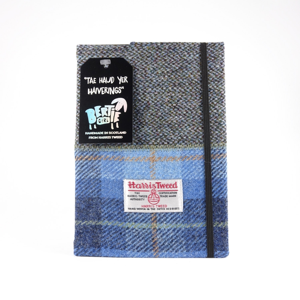 Blue Check and Blue Herringbone A5 Harris Tweed Notebook