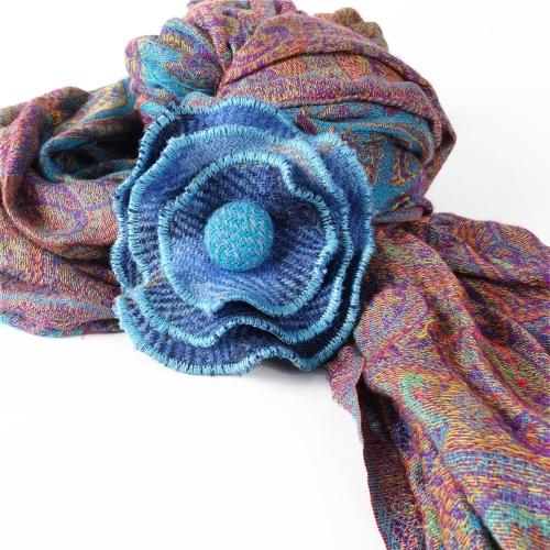 Blue Check Harris Tweed Flower Brooch by Bertie Girl