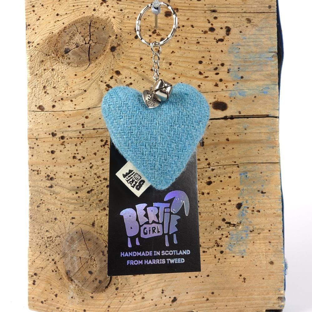 Aqua Blue Harris Tweed Heart Keyring With bell by Bertie Girl - A Peedie Heart