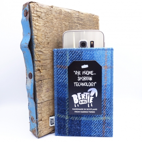 Blue Check Harris Tweed Mobile Phone Sleeve - Aye Phone Sporran Technology