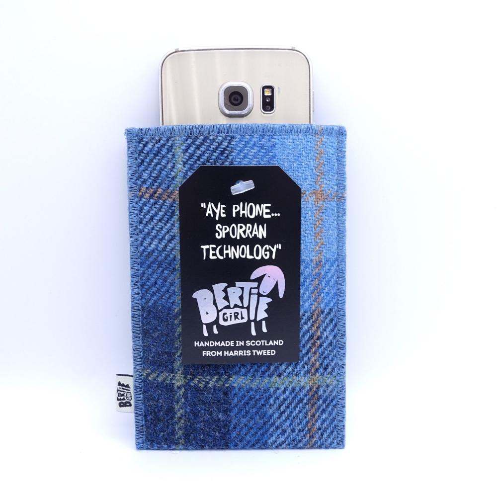 Blue Check Harris Tweed Phone Sleeve by Bertie Girl - Aye Phone... Sporran Technology