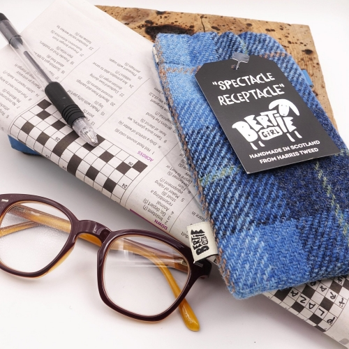 Blue Check Harris Tweed Glasses Pouch - A Spectacle Receptacle