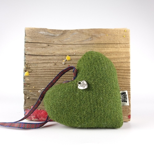 Moss Green Harris Tweed Hanging Heart Decoration With Tartan Ribbon by Bertie Girl - A Muckle Heart