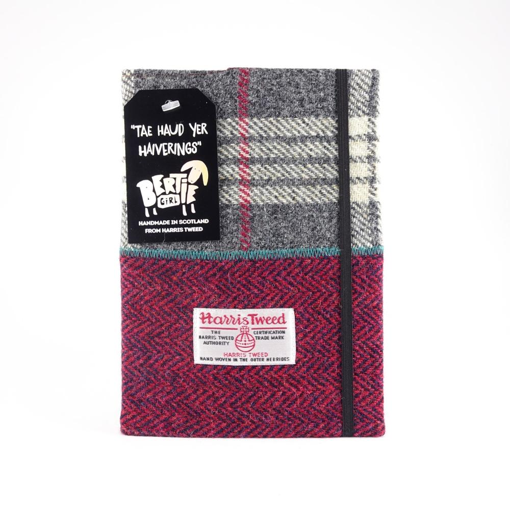 Grey Check and Red Herringbone A5 Harris Tweed Notebook