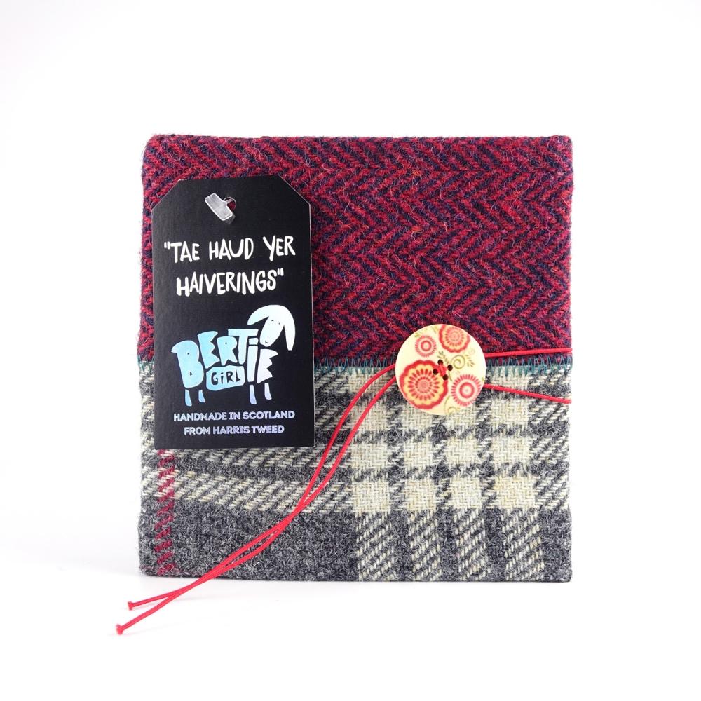 Grey Check and Red Herringbone Square Harris Tweed Notebook
