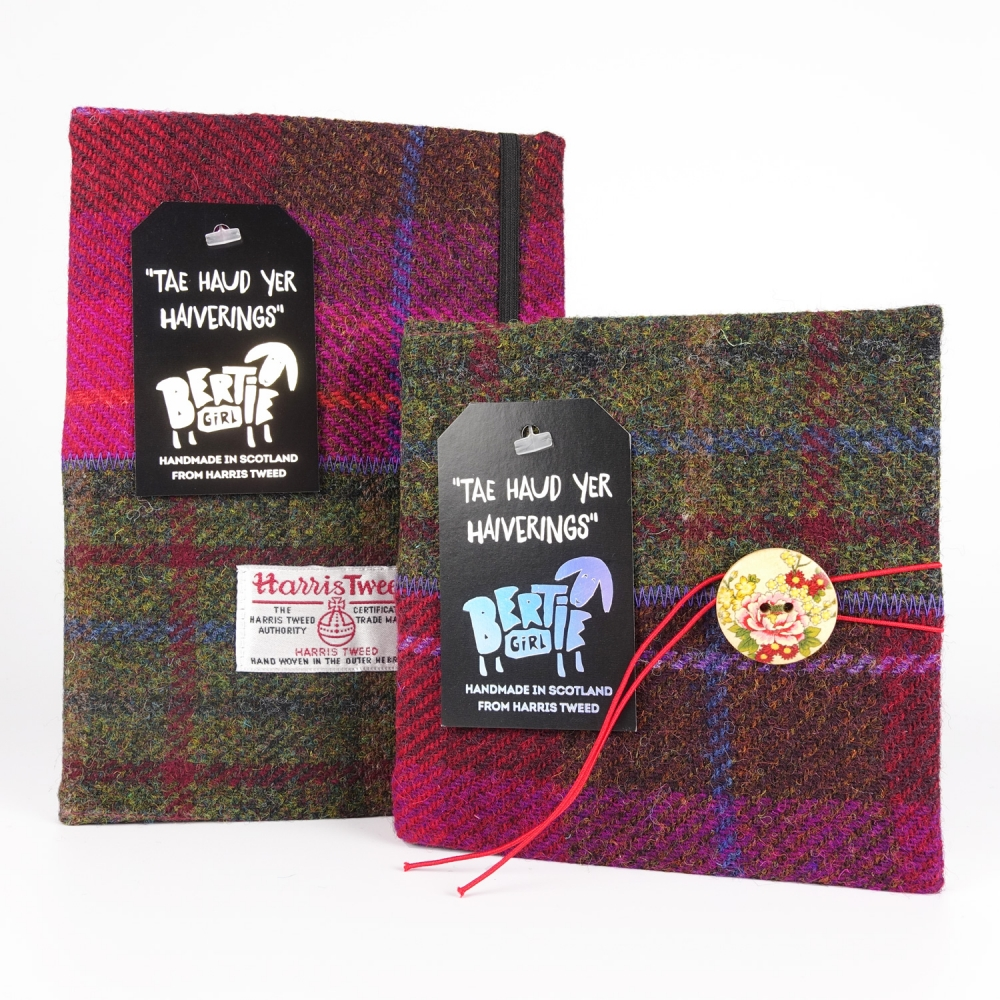 Wine and Green Harris Tweed A5 and Square Notebooks