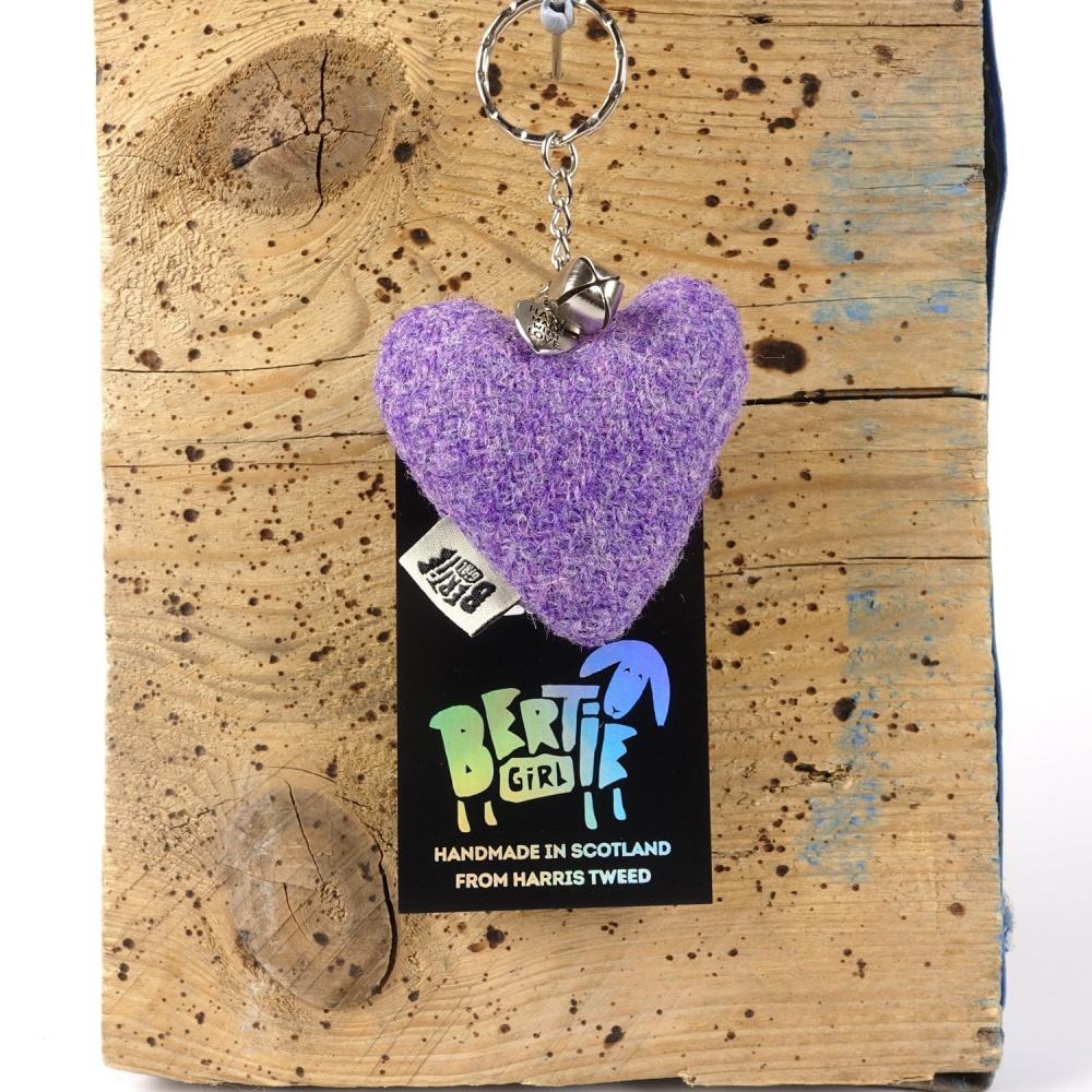 Lavender Harris Tweed Heart Keyring With bell by Bertie Girl - A Peedie Heart