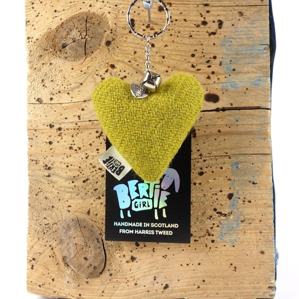 Olive Harris Tweed Heart Keyring With bell by Bertie Girl - A Peedie Heart