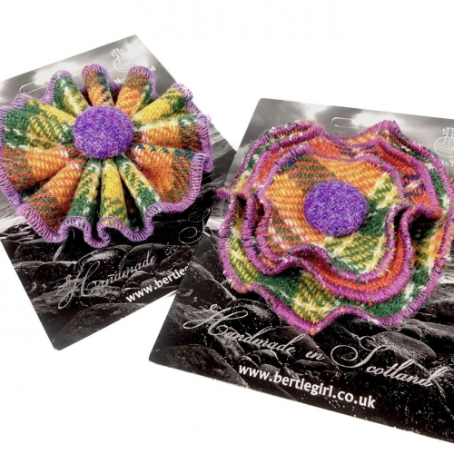 Orange Check Harris Tweed Flower and Rosette Brooches by Bertie Girl