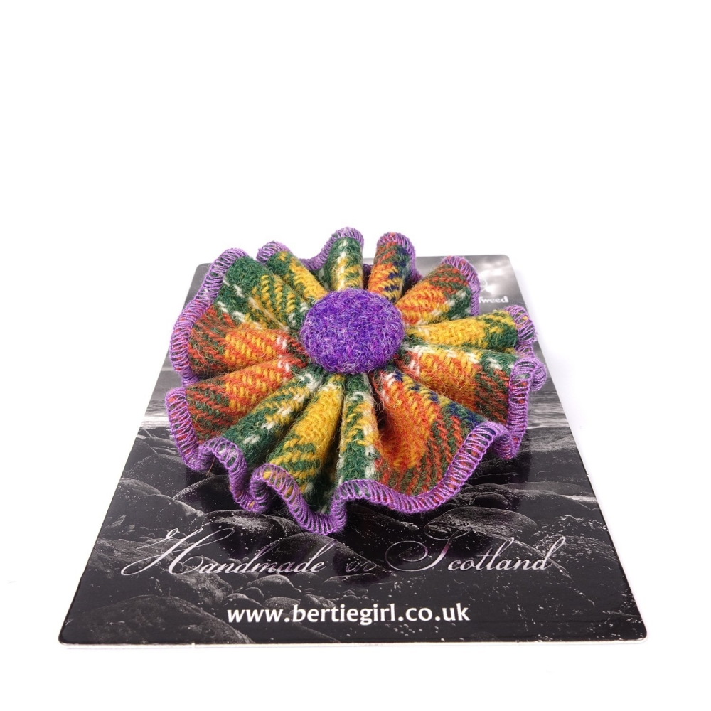 Orange Check Harris Tweed Flower Brooch by Bertie Girl