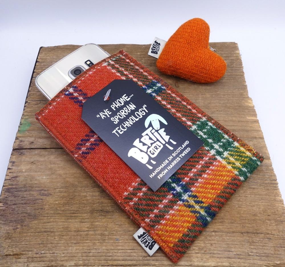 Orange Check Harris Tweed Phone Sleeve by Bertie Girl - Aye Phone... Sporran Technology