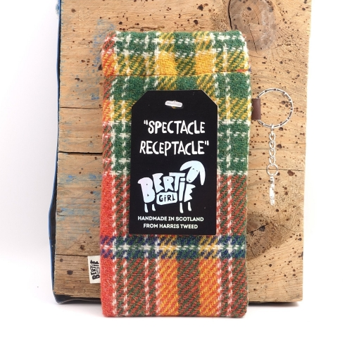 Orange Check Harris Tweed Glasses Pouch - A Spectacle Receptacle