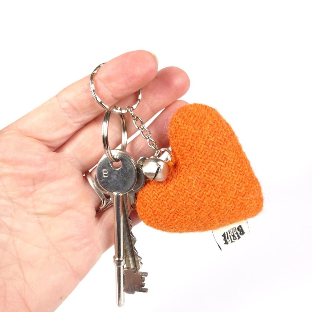 Orange Harris Tweed Heart Keyring With bell by Bertie Girl - A Peedie Heart