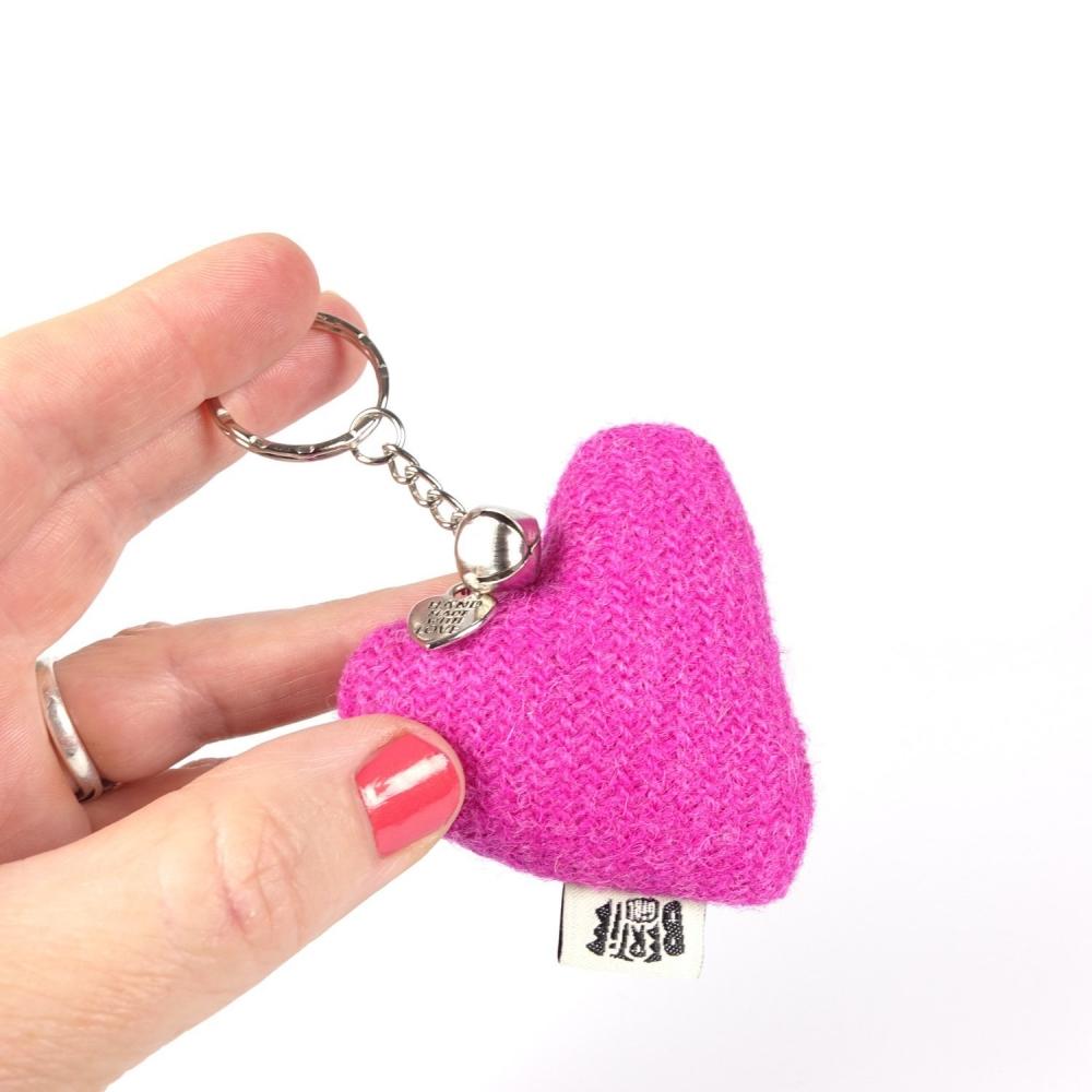 Pink Harris Tweed Heart Keyring With bell by Bertie Girl - A Peedie Heart