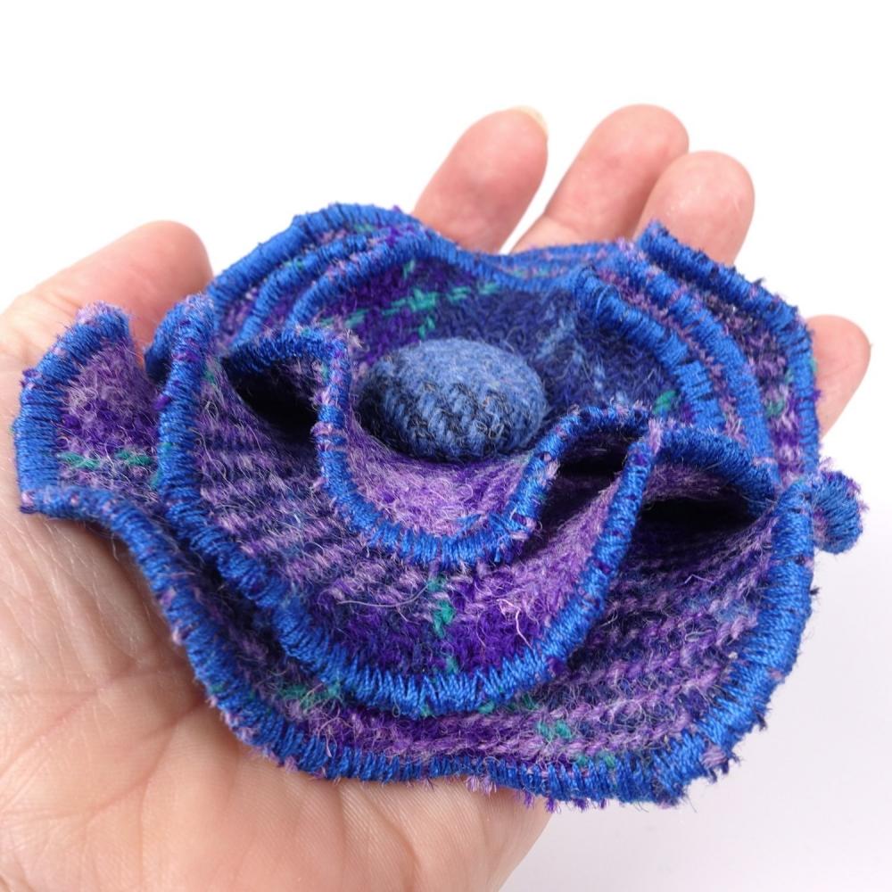 Purple Check Harris Tweed Flower Brooch by Bertie Girl
