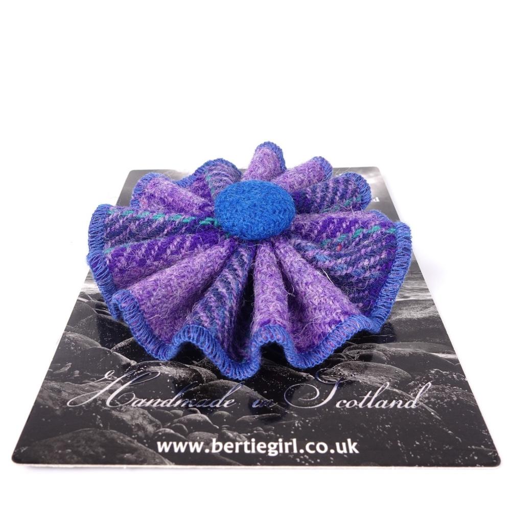 Purple Check Harris Tweed Rosette Brooch by Bertie Girl